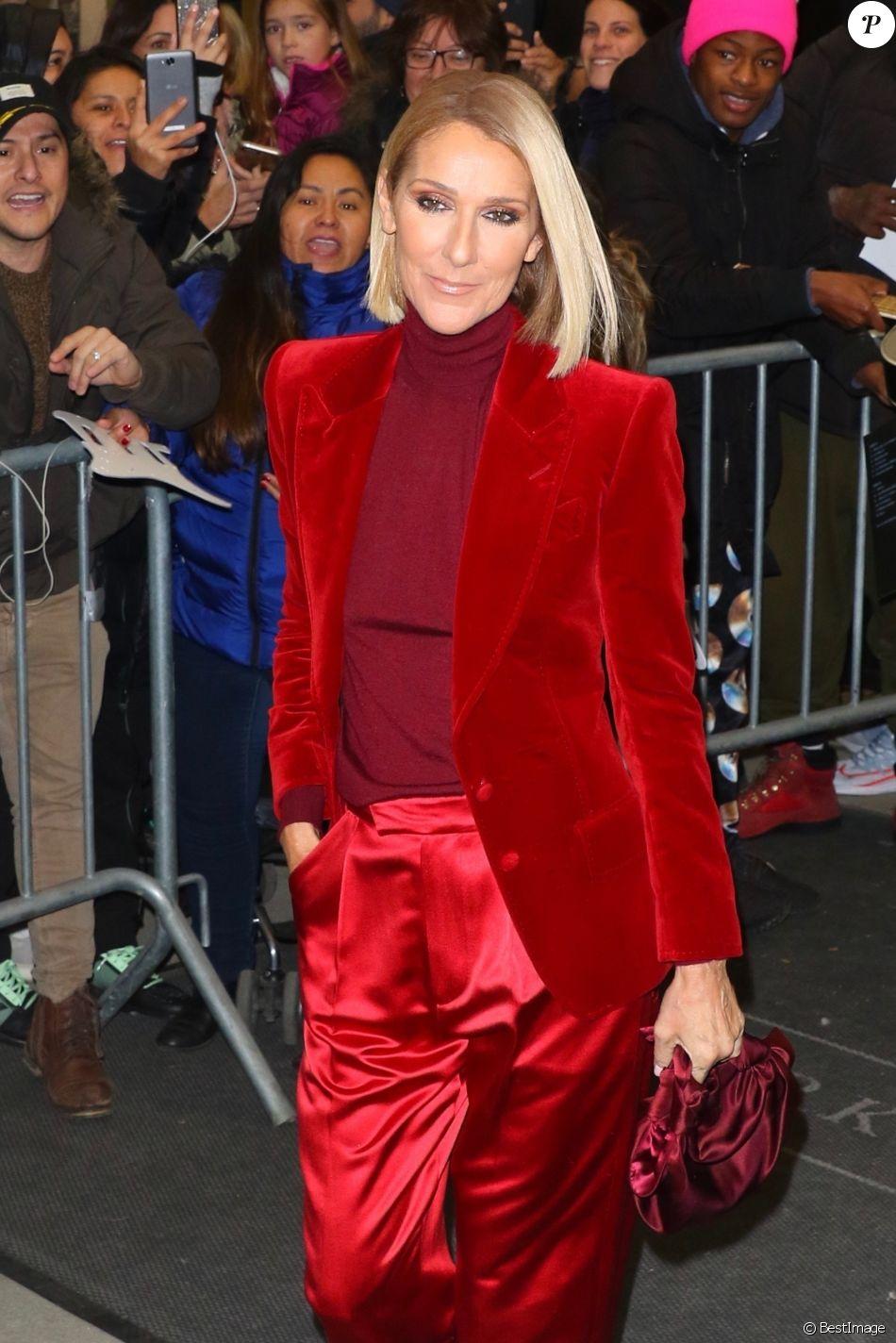 Celine Dion en look Tom Ford à la sortie de son hôtel à New York, le 14 novembre 2019