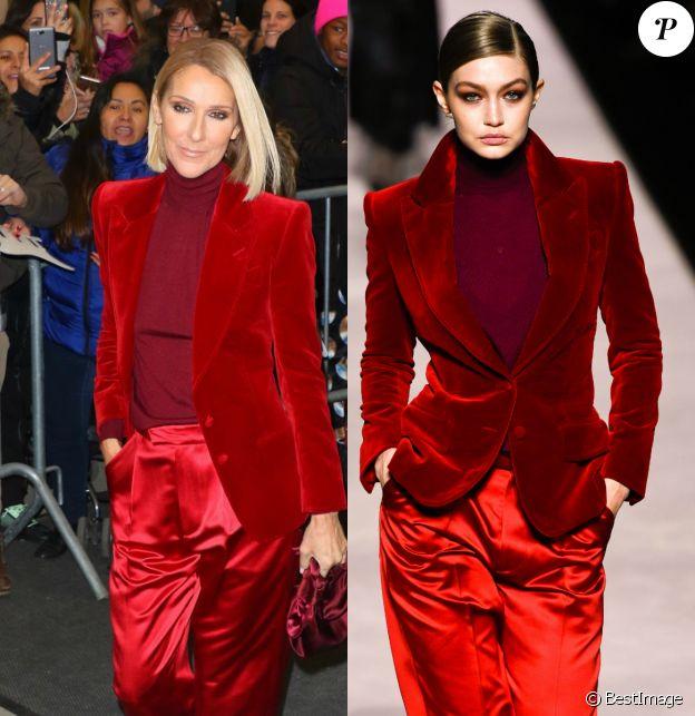 Céline Dion et Gigi Hadid portent le même look signé Tom Ford. 2019.