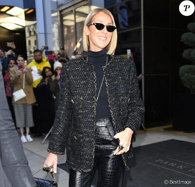 """Céline Dion est en promotion à New York pour son nouvel album """"Courage"""" le 15 novembre 2019."""