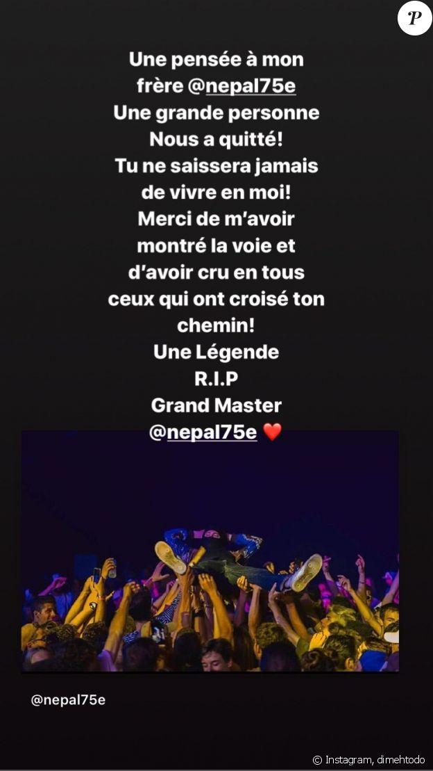 La tristesse de Di-Meh après la mort de Népal, le 20 novembre 2019, sur Instagram.