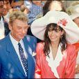 Archives- Johnny Hallyday et Adeline Blondieau le jour de leur mariage, le 9 juillet 1990 à Ramatuelle.