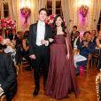 Exclusif - Jane Li (en robe Christian Dior haute couture) et son cavalier Henry Tompkins - Les débutantes au Bal 2019 au Shangri-La Hotel, Paris. Le 30 novembre 2019. © Le Bal / Jacovides-Borde-Moreau / Bestimage