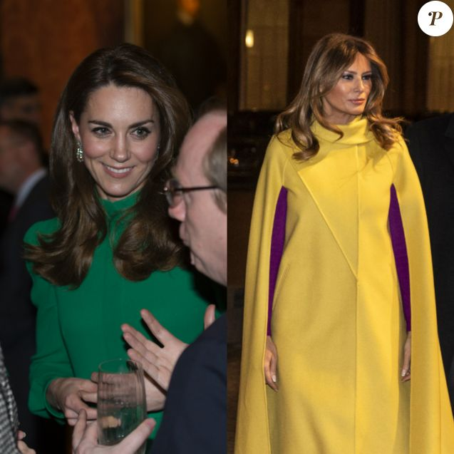 Kate Middleton et Melania Trump - La reine Elisabeth II d'Angleterre donne une réception à Buckingham Palace à l'occasion du Sommet de l'Otan à Londres, le 3 décembre 2019.