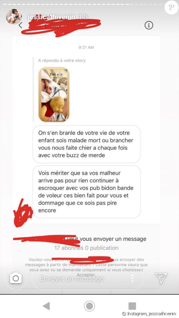 Jessica Thivenin partage le message révoltant d'un internaute, après le drame qui a frappé son fils Maylone - Instagram, le 10 décembre 2019
