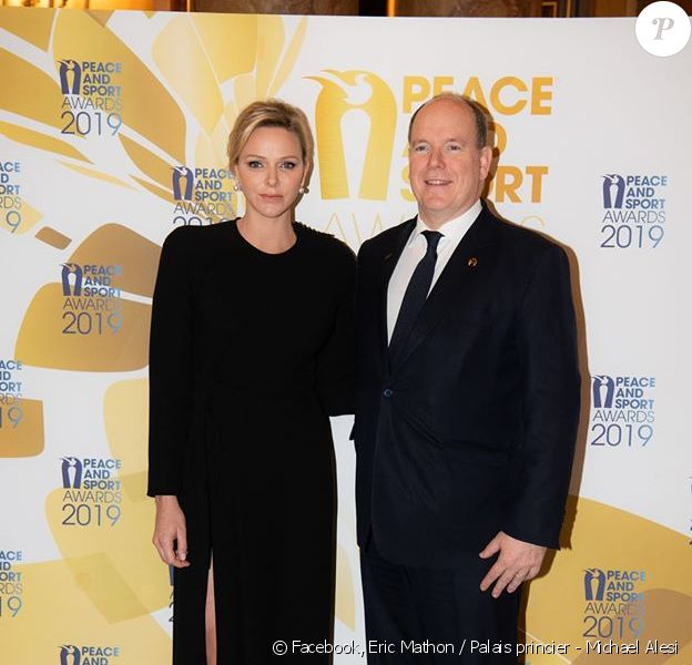 La princesse Charlene et le prince Albert de Monaco aux Peace and Sport Awards 2019, à Monaco, le 12 décembre 2019. © Eric Mathon / Palais princier - Michael Alesi / Direction de la Communication