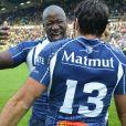 Ibrahim Diarra (Castres) et Romain Cabannes (Castres) lors du match du Top 14 Clermont - Castres, le 25 mai 2013 à Nantes.