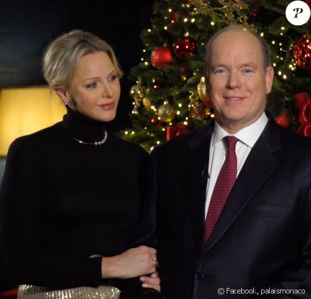 Le prince Albert et son épouse la princesse Charlene réunis pour les voeux de fin d'année diffusés le 31 décembre 2019 sur Monaco Info.