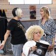 Muriel Robin sur le tournage du Salon de coiffure, janvier 2020. crédit : Cyril Moreau/Bestimage