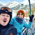 Elodie Varlet en vacances à la montagne avec son compagnon  Jérémie Poppe. Janvier 2020.