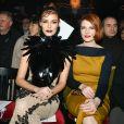 Maëva Coucke et Élodie Frégé assistent au défilé On Aura Tout Vu, collection Haute Couture printemps-été 2020 au Paradis Latin. Paris, le 20 janvier 2020.