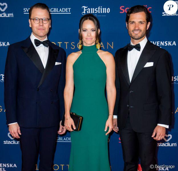 Le prince Daniel, la princesse Sofia et le prince Carl Philip de Suède lors du Gala des Sports à l'Ericsson Globe à Stockholm, le 27 janvier 2020.