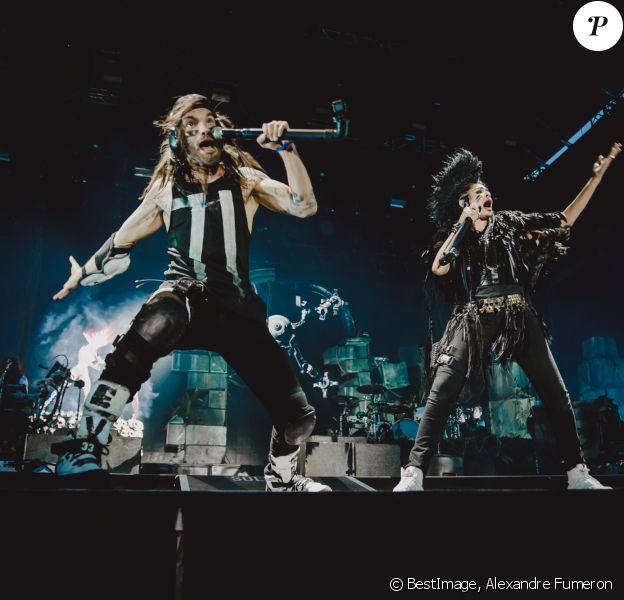 Le groupe de musique d'électro-rock Shaka Ponk en concert pour les vingt ans de Solidays 2018 à l'hippodrome de Longchamp à Paris, France, le 23 juin 2018. © Alexandre Fumeron/Bestimage