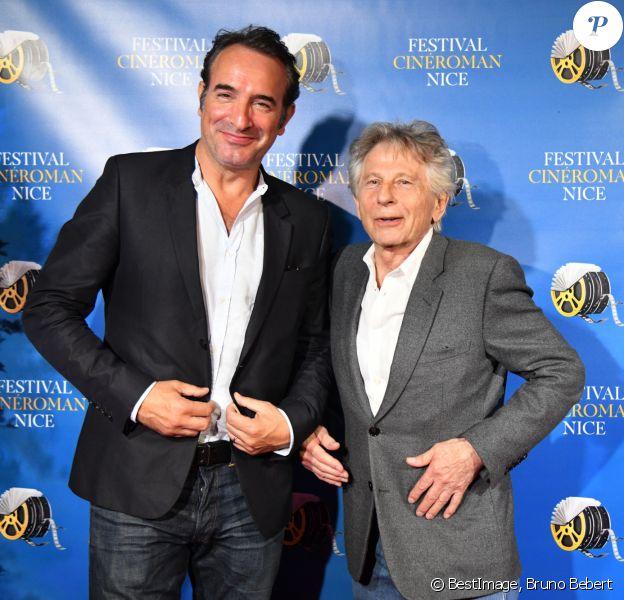 Jean Dujardin et Roman Polanski durant la soirée de clôture de la 1ere édition du Festival Ciné Roman à Nice le 26 octobre 2019. © Bruno Bebert / Bestimage