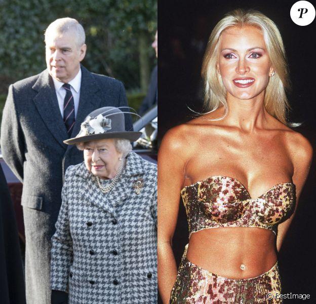 Caprice Bourret, ex-conquête du prince Andrew qui a osé prendre place sur le trône de la reine. Ici, le prince Andrew et Elizabeth II en 2020. Caprice Bourret en 1997.