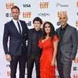 "Alexander Skarsgard, Jesse Eisenberg, Salma Hayek, Kim Nguyen à la première de ""The Hummingbird Project"" au Toronto International Film Festival 2018 (TIFF), le 8 septembre 2018."
