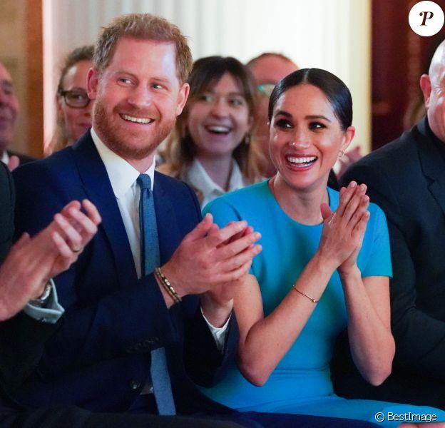 Le prince Harry, duc de Sussex, et Meghan Markle, duchesse de Sussex lors de la cérémonie des Endeavour Fund Awards au Mansion House à Londres, Royaume Uni, le 5 mars 2020.