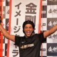 """Le footballeur Ronaldinho en promotion pour la marque de complément nutritionnel """"Kongokin"""" à l'hôtel Grand Hyatt à Tokyo, le 28 mars 2018"""