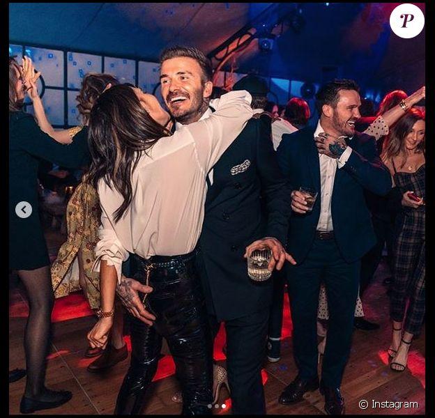 David et Victoria Beckham assistent à la soirée d'anniversaire de leur fils aîné Brooklyn Beckham (21 ans), dans leur maison aux Cotswolds, en Angleterre. Le 7 mars 2020.