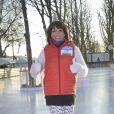 Sarah Abitbol lors d'un fitness géant sur glace à Paris le 29 décembre 2014. © JB Autissier / Panoramic / Bestimage