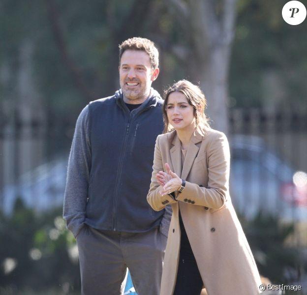 Exclusif - Ben Affleck et Ana de Armas sur le tournage du film 'Deep Water' à la Nouvelle Orléans, le 13 novembre 2019.