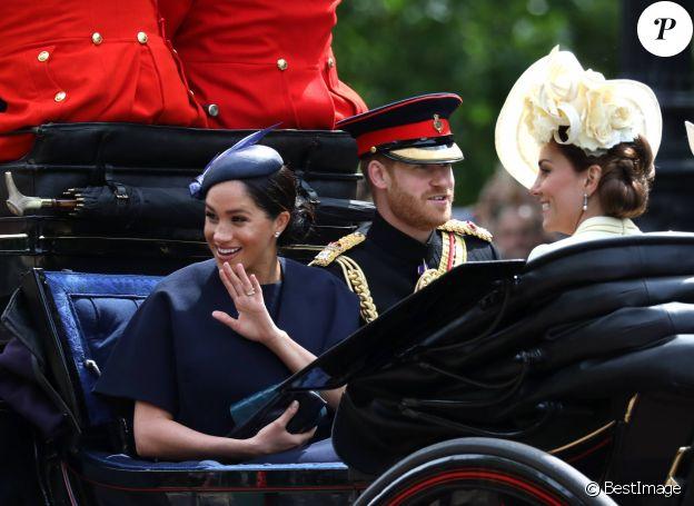 Le prince Harry, Meghan Markle et Kate Middleton - La parade Trooping the Colour 2019, célébrant le 93ème anniversaire de la reine Elisabeth II, au palais de Buckingham, Londres, le 8 juin 2019.