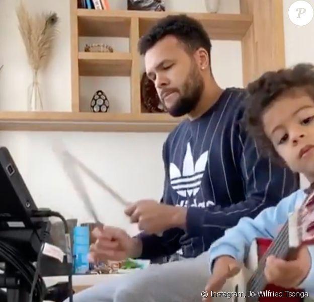 Jo-Wilfried Tsonga et son fils Sugar, confinés en musique. Mars 2020.