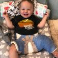 Jenson Button a dévoilé une photo de son fils Hendrix, 8 mois, plâtré après son opération de la hanche. Le 2 avril 2020.
