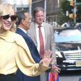 """Cate Blanchett, chaussée de souliers Sergio Rossi, arrive dans les studios de l'émission """"The Late Show With Stephen Colbert"""" à New York, le 12 août 2019."""