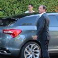 Exclusif - François Hollande, son père Georges Gustave Hollande et Valérie Trierweiler à la résidence Montrose à Cannes, le 15 août 2014.