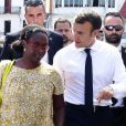 Déambulation du président de la République, Emmanuel Macron, accompagné de Sibeth Ndiaye dans les rues de Cayenne, Guyane Francaise. Le 28 octobre 2017. © Stéphane Lemouton / BestImage