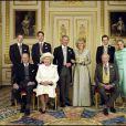Mariage du prince Charles et Camilla, ici en famille, à Windsor, le 9 avril 2005.
