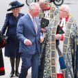 Le prince Charles, prince de Galles, et Camilla Parker Bowles, duchesse de Cornouailles - La famille royale d'Angleterre à la sortie de la cérémonie du Commonwealth en l'abbaye de Westminster à Londres, le 9 mars 2020.