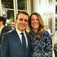 Le président Emmanuel Macron et Clare Waight Keller (Givenchy) lors du dîner offert par le président de la République et madame Brigitte Macron en l'honneur de la création et à l'occasion de la semaine de la mode, au palais de l'Élysée. Paris, le 24 février 2020.