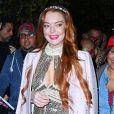 Lindsay Lohan arrive à l'hôtel Mercer avec sa soeur Aliana et sa mère Dina à New York, le 25 octobre 2019