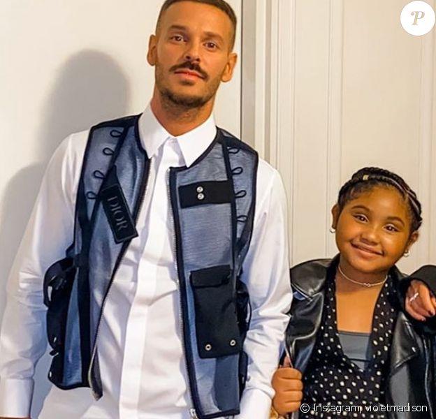 M. Pokora avec sa belle-fille Violet et sa compagne Christina Milian lors de la soirée des NRJ Music Awards, à Cannes, le 10 novembre 2019.