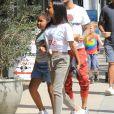 Matt Pokora, sa compagne Christina Milian enceinte et sa fille Violet Nash - Enceinte et radieuse, C.Milian se rend au glacier McConnell avec compagnon M.Pokora et sa fille V.Nash pour le goûter après avoir acheté des vêtements pour bébés. Los Angeles, le 3 août 2019.