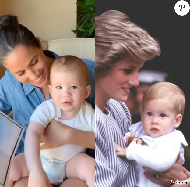 Meghan Marklet et son fils Archie (1 an) sur Instagram, le 6 mai 2020. Diana et son fils Harry (presque 1 an) en 1985.