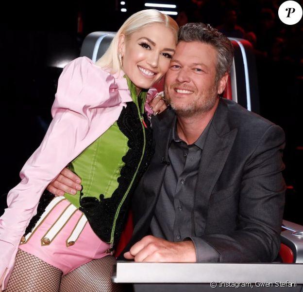 Gwen Stefani et Blake Shelton sur le plateau de The Voice. Novembre 2019.