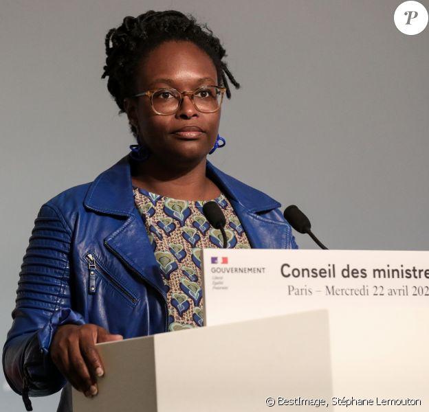 Sibeth Ndiaye, porte-parole du gouvernement lors du compte-rendu du conseil des ministres du 22 avril 2020, à Marigny, dépendance du palais de l'Elysée, Paris, France. © Stéphane Lemouton / Bestimage