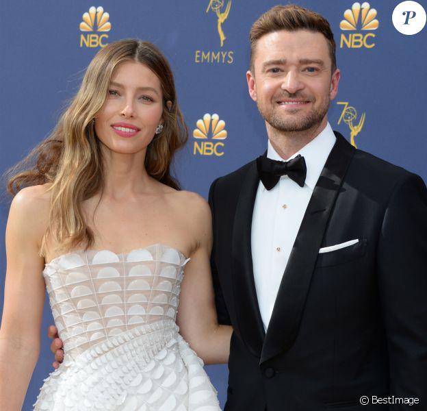 Jessica Biel et son mari Justin Timberlake au 70ème Primetime Emmy Awards au théâtre Microsoft à Los Angeles, le 17 septembre 2018