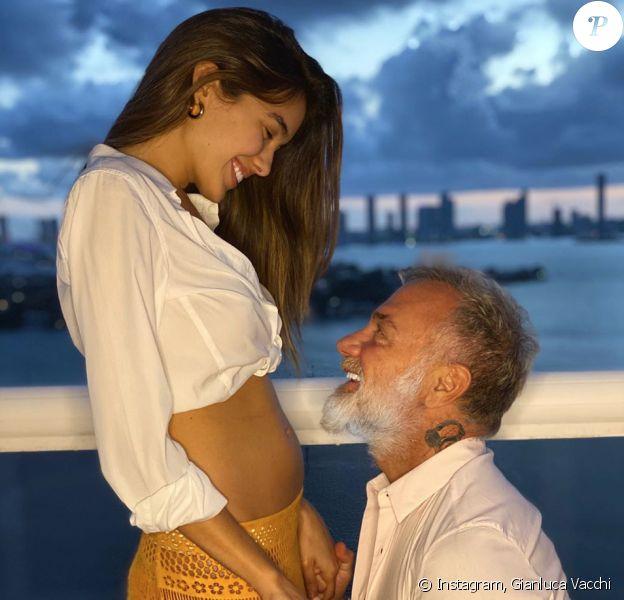 Gianluca Vacchi et sa compagne Sharon Fonseca, enceinte. Mai 2020.