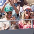 Jeff Panacloc et sa femme Charlotte de Hugo dans les tribunes lors des internationaux de tennis de Roland Garros à Paris, France, le 2 juin 2019. © Jacovides-Moreau/Bestimage