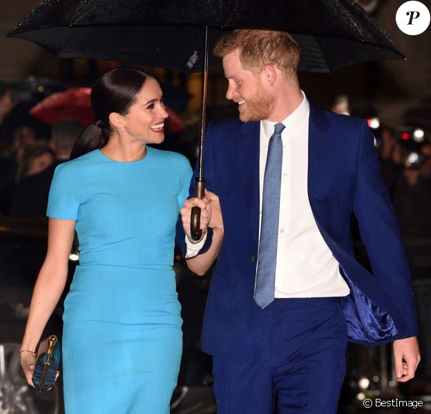 Le prince Harry, duc de Sussex, et Meghan Markle, duchesse de Sussex arrivent à la cérémonie des Endeavour Fund Awards à Londres le 5 mars 2020.