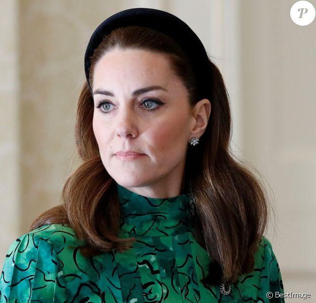 Catherine (Kate) Middleton, duchesse de Cambridge - Rencontre avec le président irlandais M.D.Higgins et sa femme, à la résidence présidentielle officielle Aras an Uachtarain à Dublin, en Irlande. Le 3 Mars 2020.