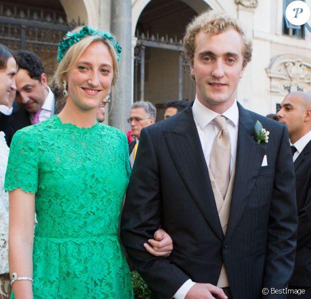 Princesse Maria Laura de Belgique et le Prince Joachim de Belgique - Mariage du Prince Amedeo de Belgique et de Elisabetta Maria Rosboch von Wolkenstein, à la basilique de Santa Maria à Trastevere, Rome, Italie le 5 juillet 2014.