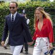"""James Middleton et sa compagne Alizee Thevenet arrivent pour assister à la finale homme du tournoi de Wimbledon """"Novak Djokovic - Roger Federer (7/6 - 1/6 - 7/6 - 4/6 - 13/12)"""" à Londres, le 14 juillet 2019."""