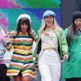 Ashley Fink, Lea Michele, Heather Morris, Jenna Ushkowitz, Diana Agron sur le tournage de Glee à New York, en 2011