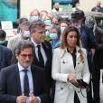 Arnaud Montebourg et sa compagne Amina Walter - Hommage à Guy Bedos en l'église de Saint-Germain-des-Prés à Paris le 4 juin 2020.