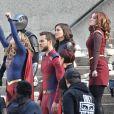 """Melissa Benoist, Chris Wood, Erica Durance, Amy Jackson, Chyler Leigh - Tournage de la saison 3 de la série """"Supergirl"""" à Vancouver au Canada le 2 mai 2018."""