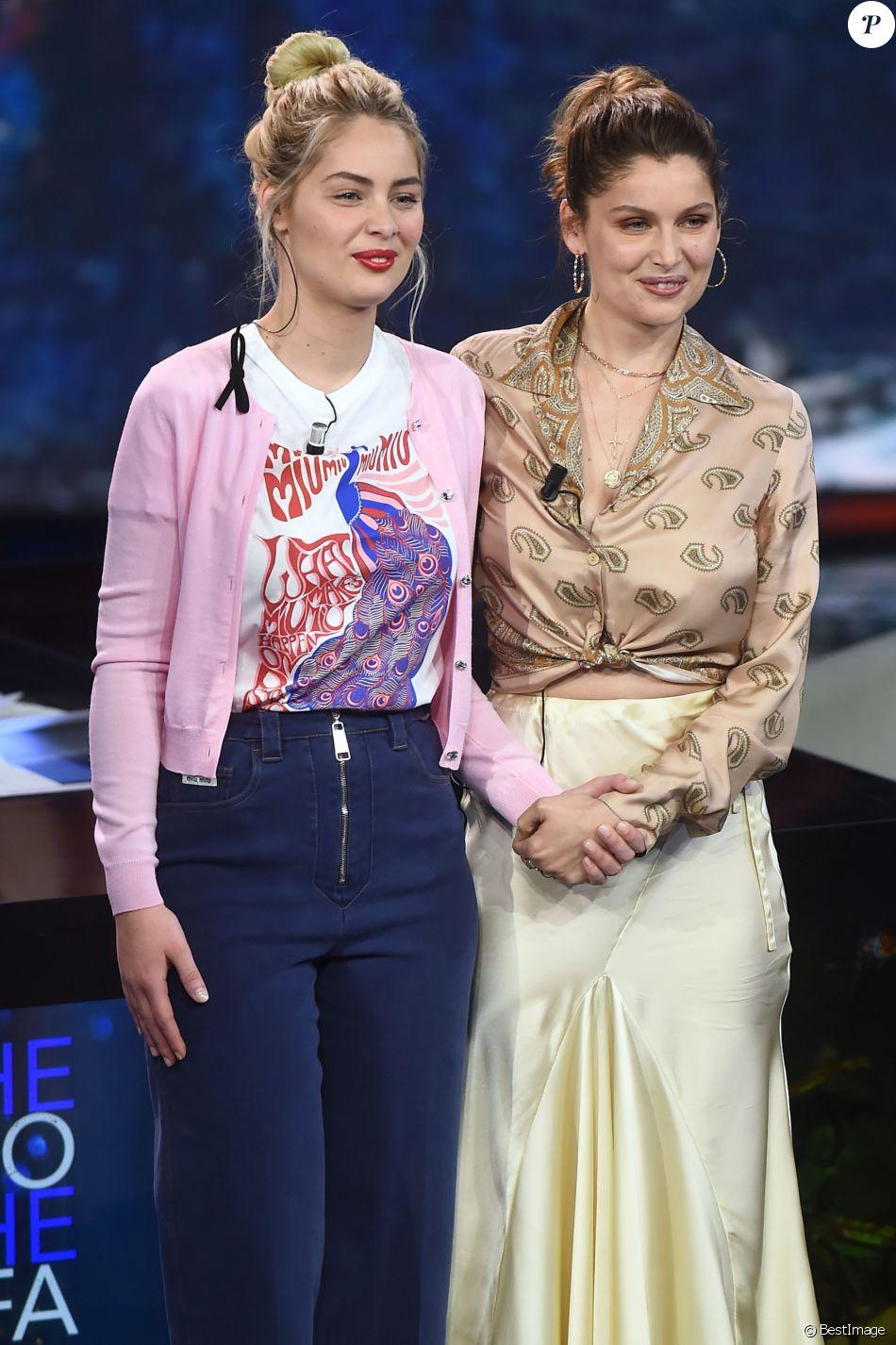 """Marie-Ange Casta et sa soeur Laetitia Casta - Emission """"Che Tempo Che Fa"""" à Milan en Italie le 7 avril 2019.  Episode Of The Tv Show -Che Tempo Che Fa- Milan- Italy 07 April 201907/04/2019 -"""